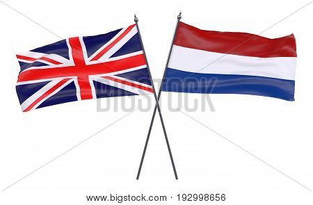 Great Britain and Netherlands, two crossed flags isolated on white background. 3d image