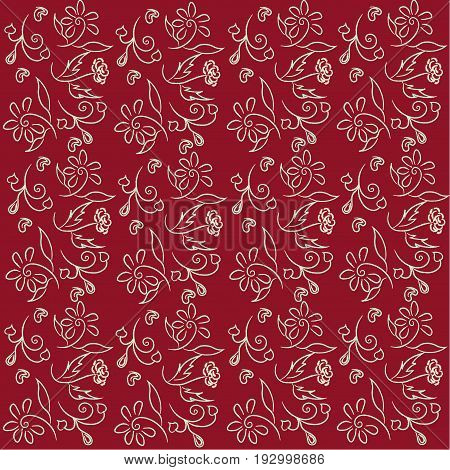 Floral pattern on a saturated burgundy background