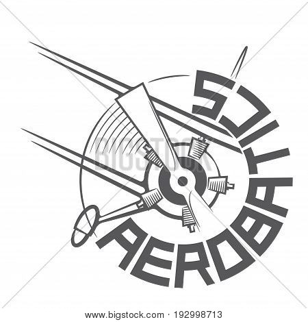 An illustration consisting of  images in the form of a sports airplane logo