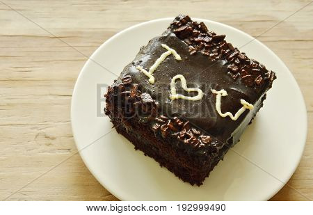 chocolate butter cake decorate I love you for valentine day on dish