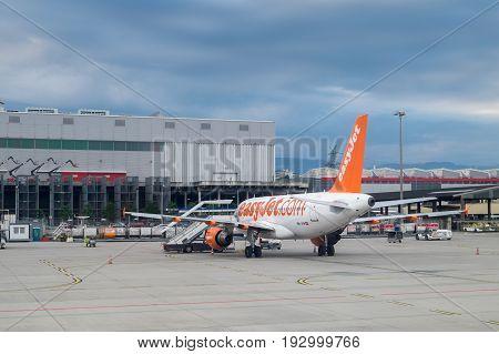 GENEVA SWITZERLAND - JUNE 25 2017: Airbus A319-111 of EasyJet landed at Geneva airport. Switzerland