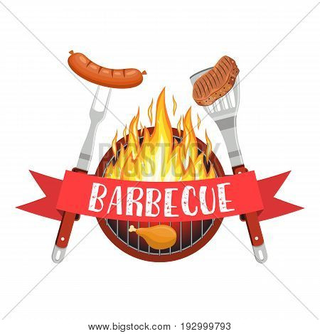 barbecue utensils with steak of meat and sausage. Bbq and Grill icon with fire, fork and spatula. Vector illustration in flat style