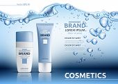 Aqua Cream Moisturizing cosmetic ads template. Hydrating facial lotion. Mockup 3D Realistic illustration. Sparkling water drops over blue poster