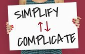 Simplify Complicate Arrow Up Down Word poster