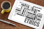 ethics and moral dilemma word cloud on a  digital tablet with a cup of coffee poster
