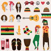 Rastafarian subculture. Couple of young rastaman woman and man with dreadlocks in rasta clothes set of different objects isolated on background sneakers bong guitar hairstyles for her and him poster
