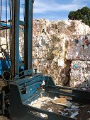 Datail of machinery and Wasted paper to be recycled poster