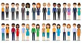 Flat people characters. Vector. Men women in casual and business clothes standing together. Cartoon males females isolated on white background. Icons businessmen and businesswomen. poster
