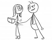 Cartoon vector of male boss slapping smacking bottom of female subordinate worker sexual harassment poster