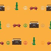 Rastafarian seamless pattern with old fashioned record player round shaped glasses with marijuana leaf image green bong on yellow background. Vector illustration. poster