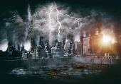 Apocalyptic thunderstorm over downtown with lightning strikes and blasts, lava or burning flames in foreground. Disaster film poster concept poster