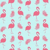 Beautiful seamless pattern with pink flamingo isolated on white, trendy fashion textile print, pop art vector design. Retro 80s style poster