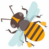 Vector happy cartoon bee flying delicious honey insect isolated animal. Yellow bug honeybee antenna detail pollen small worker buzz wings natural pollination honey bee. poster