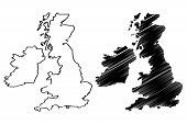 British Isles map vector illustration , scribble sketch British Isles poster