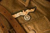 Closeup of a german uniform from WW2 selective focus poster