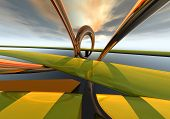 futuristic 3d render of a highway scene. gold and muted yellow poster