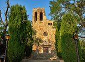 Sant Pere de Pals church in the medieval historic downtown of Pals. Bajo Ampurdan Girona Catalonia Spain. poster
