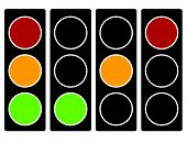 Traffic light traffic lamp icon in set. Semaphore with green yellow red light on. Suitable as driving transportation traffic or permission related design elements poster