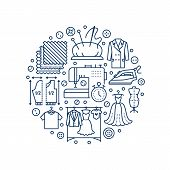 Clothing repair, alterations studio equipment banner illustration. Vector line icon of tailor store services - dressmaking, clothes steaming, suit dress, garment sewing. Atelier circle template. poster