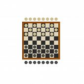 Icon of checkers board game. Draughts, competitor, activity. Board games concept. Can be used for topics like leisure, strategy or logic poster