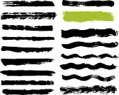 Seventeen real paint brush strokes on canvas. Each vector brush stroke grouped for easy use and separation. poster