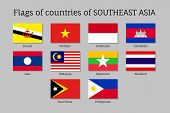 Set of flat flags of members of Asean Economic Community AEC Laos, Thailand and Vietnam, Malaysia and Philippines. Signs of Southeast Asia states. Vector isolated icons poster