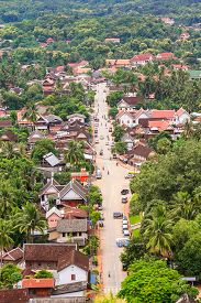skyview and landscape in luang prabang Laos.