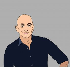 June, 2017: Jeff Bezos vector portrait on a gray background