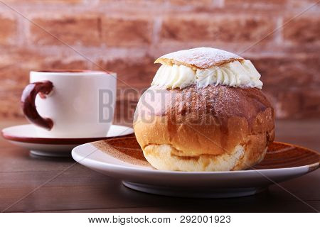 Swedish Semla, Traditional Shrove Bun, Consists Of Light Wheat Bread With Almond Paste And Whipped C