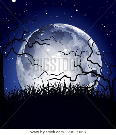 vector night background with the moon and silhouettes of trees