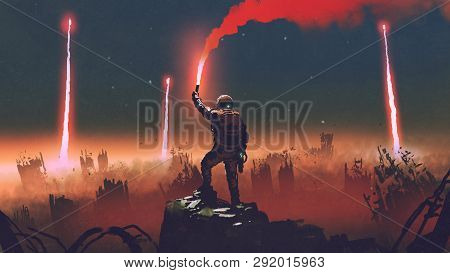 Man Holds A Red Smoke Flare Up In The Air And Standing Against The Apocalypse World, Digital Art Sty