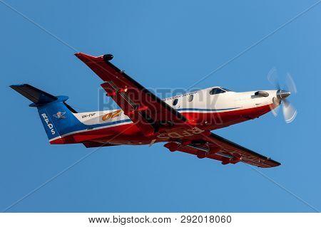 Adelaide, Australia - January 7, 2013: Royal Flying Doctors Service Of Australia Pilatus Pc-12 Singl