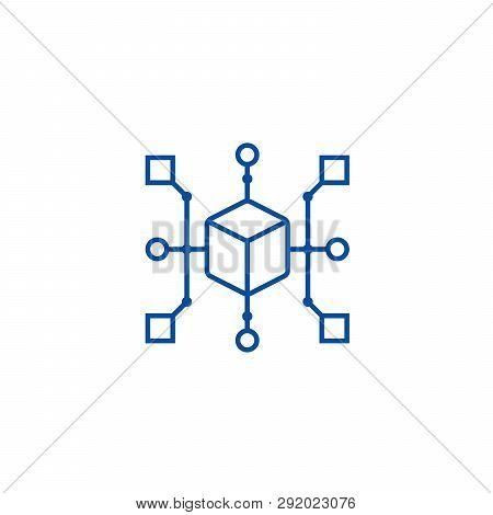 Cluster Diagram Line Icon Concept. Cluster Diagram Flat  Vector Symbol, Sign, Outline Illustration.