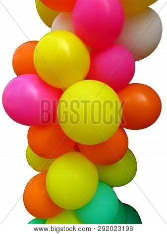 Set Of Colored Balloons Isolated On White. Clipping Path Included.
