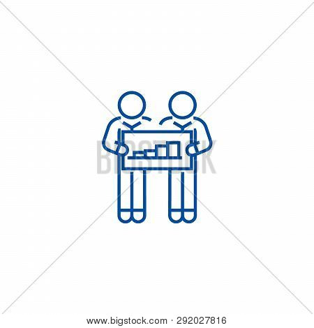 Cooperation People With Graph Line Icon Concept. Cooperation People With Graph Flat  Vector Symbol,