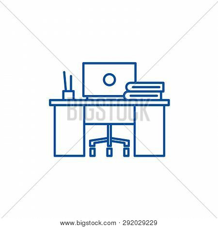 Coworking Line Icon Concept. Coworking Flat  Vector Symbol, Sign, Outline Illustration.