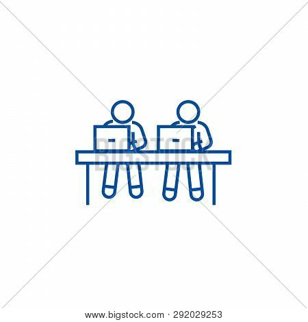 Coworking, Working At Laptops Line Icon Concept. Coworking, Working At Laptops Flat  Vector Symbol,