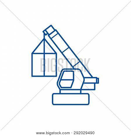 Crane, Cargo Logistics, Wrecker Line Icon Concept. Crane, Cargo Logistics, Wrecker Flat  Vector Symb