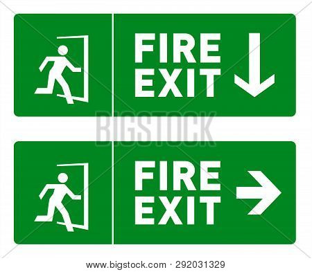 Green Fire Exit Sign With Icon Of Man Running Through A Door. Emergency Exit Label With Direction Ar