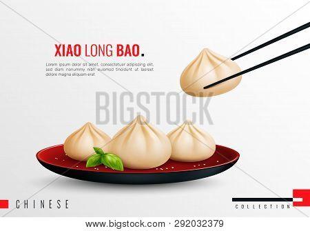 Dumplings Ravioli Manti Colored And Realistic Composition With Xiao Long Bao Headline Vector Illustr