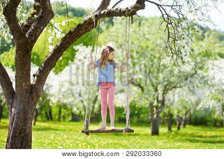 Cute Little Girl Having Fun On A Swing In Blossoming Old Apple Tree Garden Outdoors On Sunny Spring