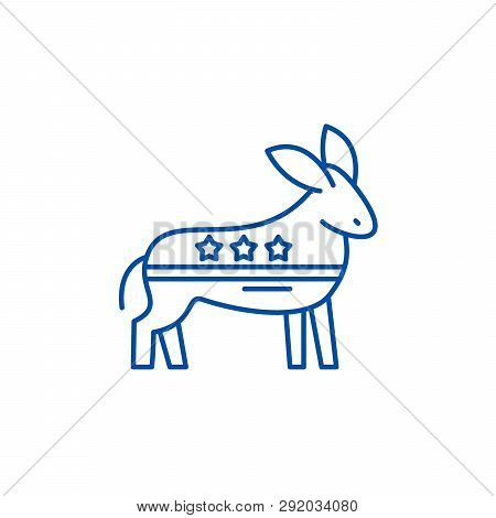 Democratic Ass Line Icon Concept. Democratic Ass Flat  Vector Symbol, Sign, Outline Illustration.