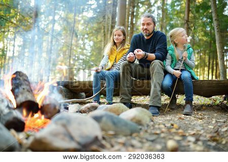 Cute Little Sisters And Their Father Roasting Marshmallows On Sticks At Bonfire. Children Having Fun