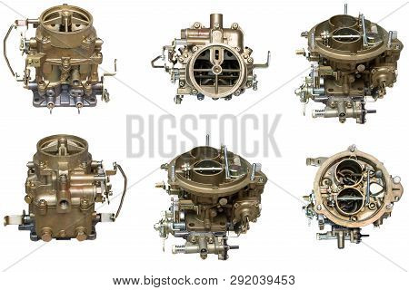 Car Carburetor In Different Positions On A White Background