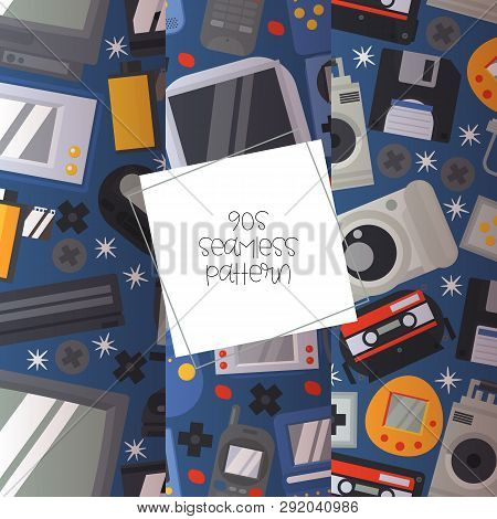 90s Devices Seamless Pattern Vector Illustration. Old Technologies Such As Cassette, Camera, Floppy