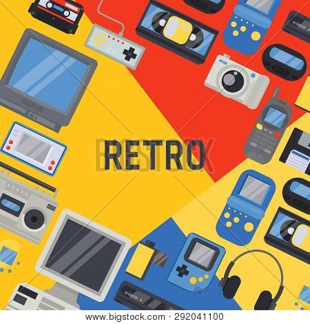 90s Devices Banner, Poster Vector Illustration. Old Technologies Such As Cassette, Camera, Floppy Di