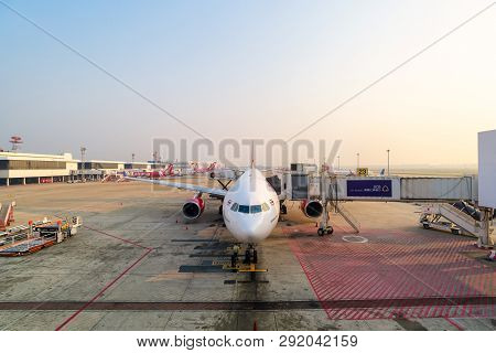 Bangkok,thailand-febuary 13,2019 : Airport Ramp Service For For A Commercial Plane Landing At Don Mu