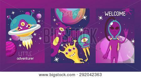 Monster Alien Set Of Cards Vector Illustration. Cartoon Monstrous Character, Cute Alienated Creature