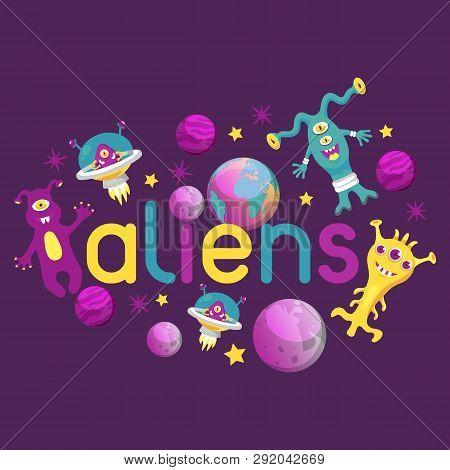 Monster Alien Poster, Banner Vector Illustration. Cartoon Monstrous Character, Cute Alienated Creatu