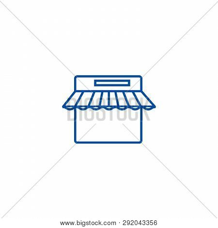 E Commerce, Internet Shop Line Icon Concept. E Commerce, Internet Shop Flat  Vector Symbol, Sign, Ou